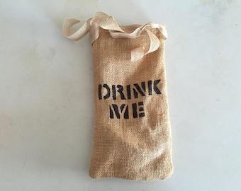 Burlap Drink Me Wine Gift Bag