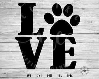Love paw svg, Love svg, Dog love svg, Cat svg, cat lover, Paw svg, Dog svg, Dog lover svg, Cat lady, Fur mama svg, svg, dxf, png, eps, jpeg