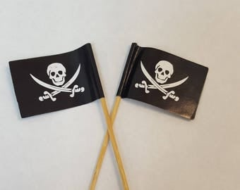 Pirate flag cupcake toppers, set of 12.