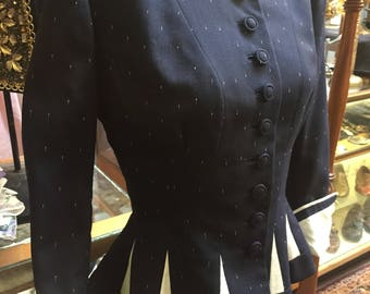 Decadently flecked 1950s Lilli Ann suit jacket in rich navy