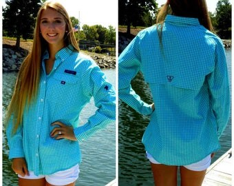 Simply Southern Button-Up Turquoise & White Gingham Long Sleeve Cotton Shirt