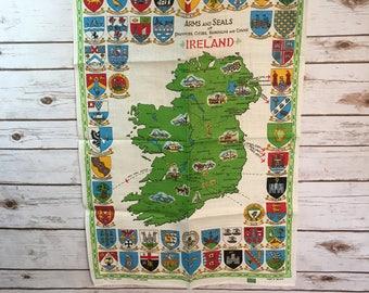 Irish Arms Seals Cities Boroughs Towns Linen Vintage Tea Towel Made In Ireland