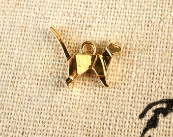 Origami cat 3 gold charms  jewellery supplies