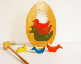 Wooden vintage kids - shape and color game