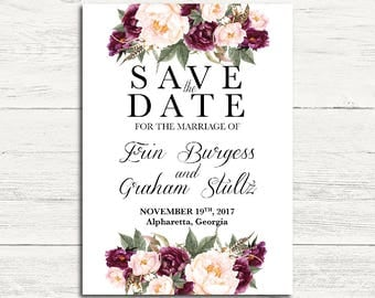 Burgundy & Rose Save the Date
