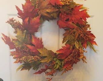 Fall wreath/ autumn wreath/ fall door wreath/ holiday wreath/ housewarming wreath/ top selling wreath/ front door wreath/ door wreath