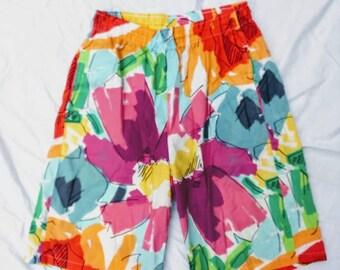 80's Jams shorts Bermudas surfer wave bright island cotton beach flowers Small pull-on pink aqua orange magenta