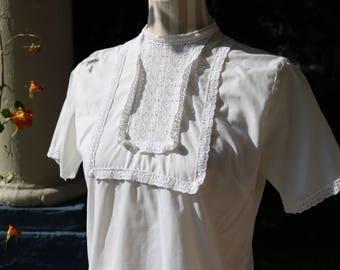 50s White Cotton Blouse