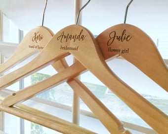 Customized Bridesmaid Dress Hanger, Wedding Dress Hanger, Rustic Chic Wedding, Bride Hanger, Wood Hanger