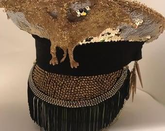 Burning man hat, festival hat, captain hat, party hat