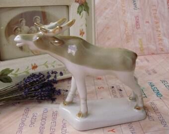 Large vintage USSR soviet-russian Kiev  porcelain animal figurine, moose,handpainted,stamped