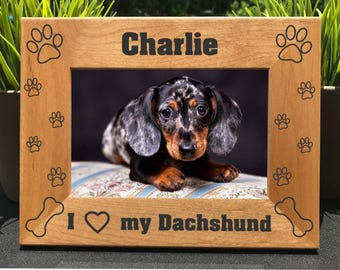 I Love My Dachshund // Personalized Engraved Photo Frame // Picture Frame // Dog Lover Gift // New Puppy Owner Gift // We Love Our Dachshund