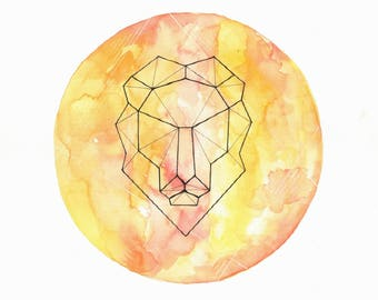 Leo Geometric Zodiac - Color Prints
