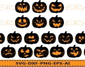 60 % OFF, Pumpkin Faces Svg, Halloween Svg, Halloween Clipart, Pumpkin Faces Silhouette svg, dxf, ai, eps, png, Halloween Vector Files