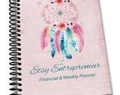 Etsy Entrepreneur Financial & Weekly Printed Spiral Bound  Planner - Dream Catcher- Spiral Bound 6.5 x 9