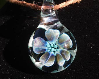 Boho Implosion Flower Handmade Glass Pendant Hippie Hemp Charm Glass Boro Jewelry Handblown Artisan Glass