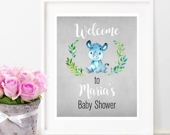 Baby Boy Printable Welcome Sign, Baby Shower Welcome Sign, Watercolor Party Printable, Watercolor Peony Flowers Baby Shower Party Decor