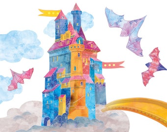 Fabric Wall Decal, Wall Stickers Kids, Castle Wall Sticker, Birthday Wall Decal, Castle Decal Nursery, Castle Sticker Nursery, Flying Castle