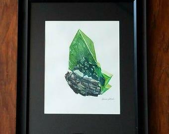 8x10 ORIGINAL Hand Painted Watercolor Titinite Crystal