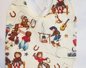 Retro Children Cowboy/Girl Western Reversible Baby Bib