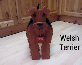 WELSH TERRIER wooden garden planter