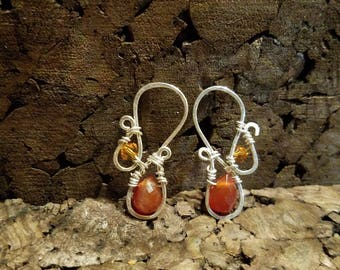 Sterling Silver and Red Agate Earrings