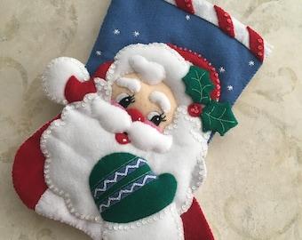 """15"""" Santa face Bucilla Christmas Stocking"""