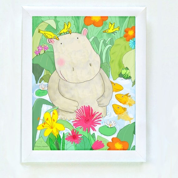 Whimsical hippo print for kids, art for kid's room, prints for kid's rooms, kids decor, children's room art, nursery decor, kids room print