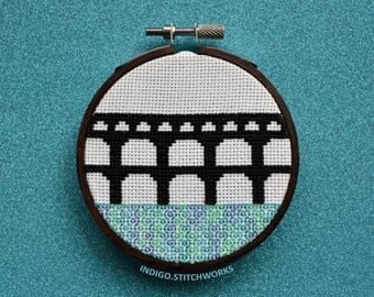 "Pont du Gard Silhouette - 3"" Hooped Cross Stitch"