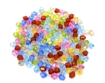 100 beads acrylic bicone - 6 mm mixed color.