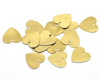 Sequin gold 13 mm heart charms 10
