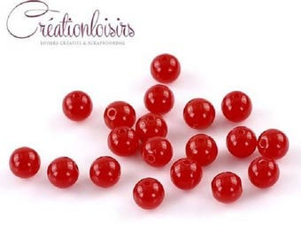 30 beautiful red acrylic beads, 8 mm