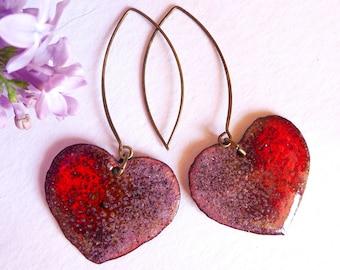 Earrings Big red hearts