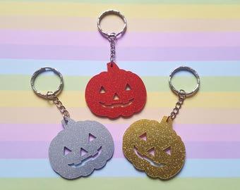 Glitter pumpkin keyring, Pumpkin keyring, Glitter keyring, Halloween keyring, Halloween, Pumpkin, Kawaii, Glitter, Horror, Goth, Emo, Punk