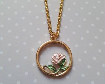 Pink rose necklace, Rose necklace, Rose pendant, Flower neckace, Flower jewellery, Rose jewellery, Pink rose, Rose, Flower, Floral jewellery