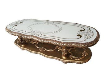 RESERVED***Hollywood Regency Vintage Gold and Ivory Glass Coffee Table - Victorian Gold Coffee Table Set
