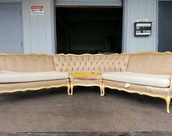 Vintage Hollywood Regency Couch - Large French Provincial Sofa / Living Room Sectional - Beautiful Victorian Sectional Couch and Loveseat
