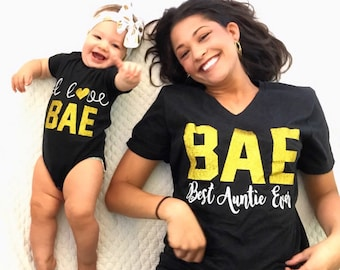 BAE Best Auntie Ever, I Love Bae, Matching Aunt/Niece Shirts, Aunt Life, Niece Life, Sparkle, Trendy, Funny Vneck Loose Fit, matching baby.