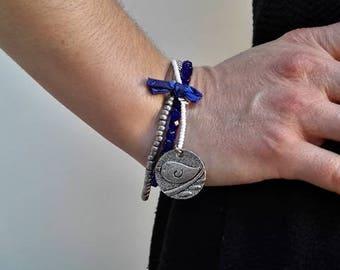 3 1 Navy blue white silver silver charm bracelets
