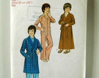 Style Vintage Sewing Pattern 4389 Boys Robe in Two Lengths and Pajamas Size 7 Dressing Gown Pyjamas Age 7-8 1970s