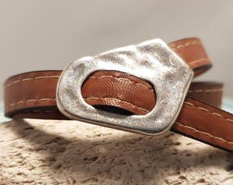 Leather bracelet; Tan leather bracelet; Leather choker;  Flat leather bracelet; Silver bracelet; Unisex leather bracelet; Wrap bracelet;