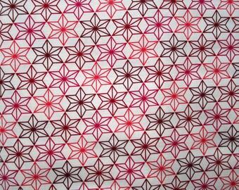 Japanese fabric stars asahona - shades of Red 50 x 55 cm