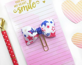Fourth of July Planner Clip / Planner Bow Clip / Fourth of July Bow Paper Clip