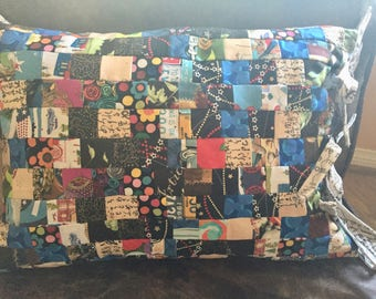 Patchwork-Newsprint fabric Pillow #2