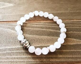 Buddha Pink & White Quartz Bracelet~ Beaded Stretch Bracelet~ Silver Buddha Bracelet~ Gift for Buddhist~ Yoga Lover Gift