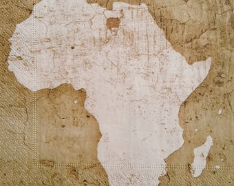 2 x single paper napkins for decoupage & craft Decopatch Scrapbooking VINTAGE AFRICA Map, 33 x 33 cm, 3 ply, paper supply, paper source New