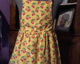 Bright Red Cherries Girls Apron size 7-8