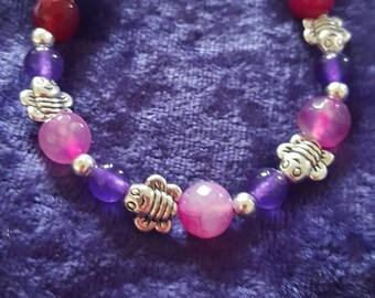 Small bracelet banded pink agate and purple jade with bee charm healing