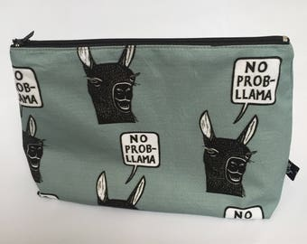 Zipper pouch | cosmetics bag | project bag |  printed design | pencil case |  rubber stamp | llama | fun quote | no probllama | gray