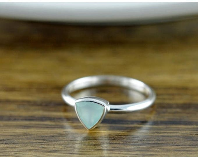 10% off SALE Sterling Silver Trillion Aqua Chalcedony Ring - Boho Ring - Gemstone Ring - Gem Ring - Gemstone Jewelry - Solitaire Ring - Stac